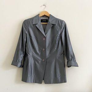 Dana Buchman 100% silk silver blazer